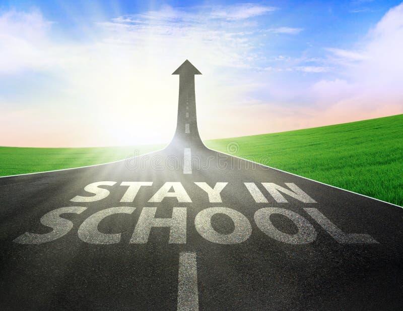 Δρόμος με το επάνω σημάδι και την παραμονή βελών στο σχολικό κείμενο διανυσματική απεικόνιση