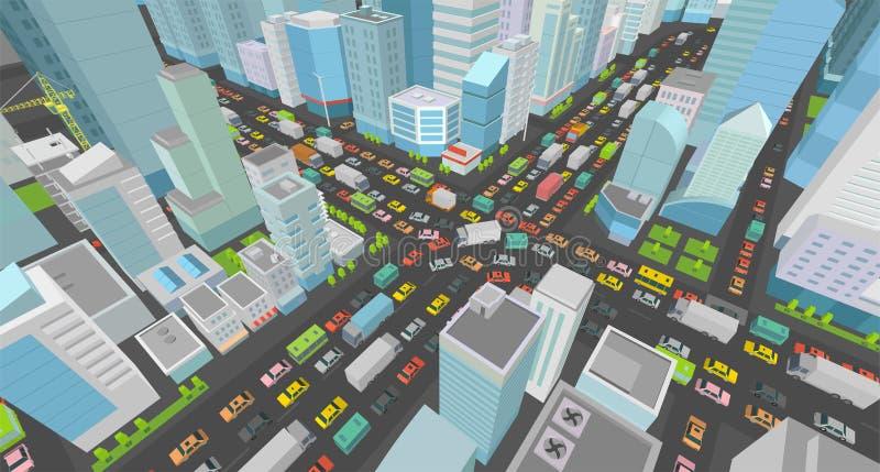 Δρόμος μποτιλιαρισμάτων διατομής οδών πόλεων τρισδιάστατος Πολύ υψηλή άποψη προβολής λεπτομέρειας Isometric Πολύς κορυφή κτηρίων  ελεύθερη απεικόνιση δικαιώματος
