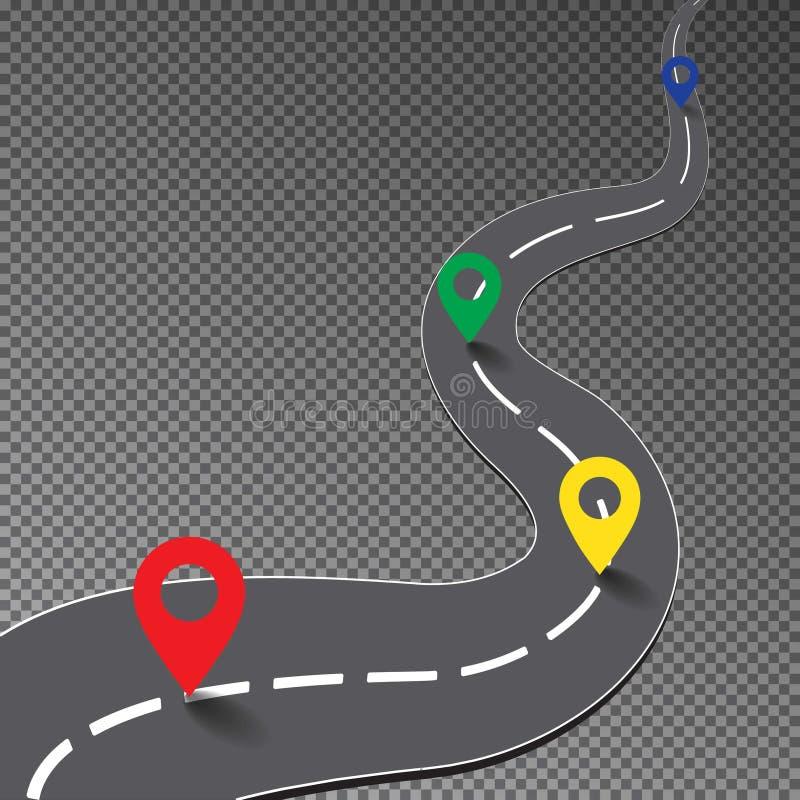Δρόμος οδών με το σημείο χαρτών που απομονώνεται στο διαφανές υπόβαθρο, τρόπος καμπυλών στο στόχο, διαδρομή αγώνα, λεωφορείο ελεύθερη απεικόνιση δικαιώματος