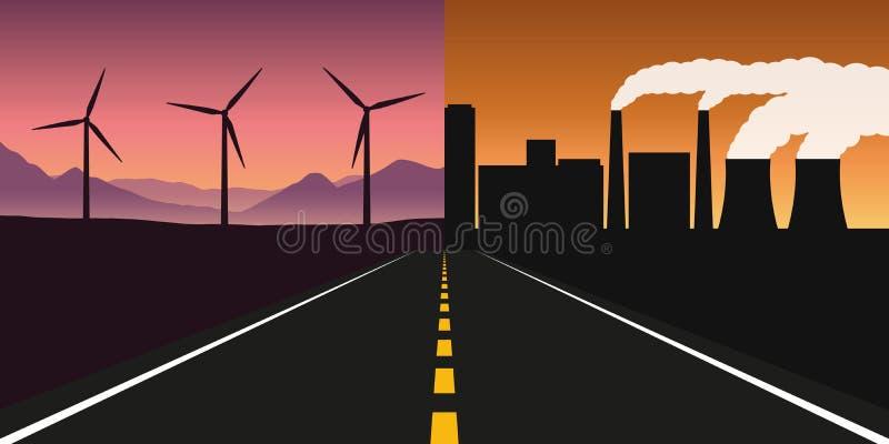 Δρόμος προς την πόλη με τη μόλυνση από τη βιομηχανία και την καθαρή φύση με τη αιολική ενέργεια ελεύθερη απεικόνιση δικαιώματος