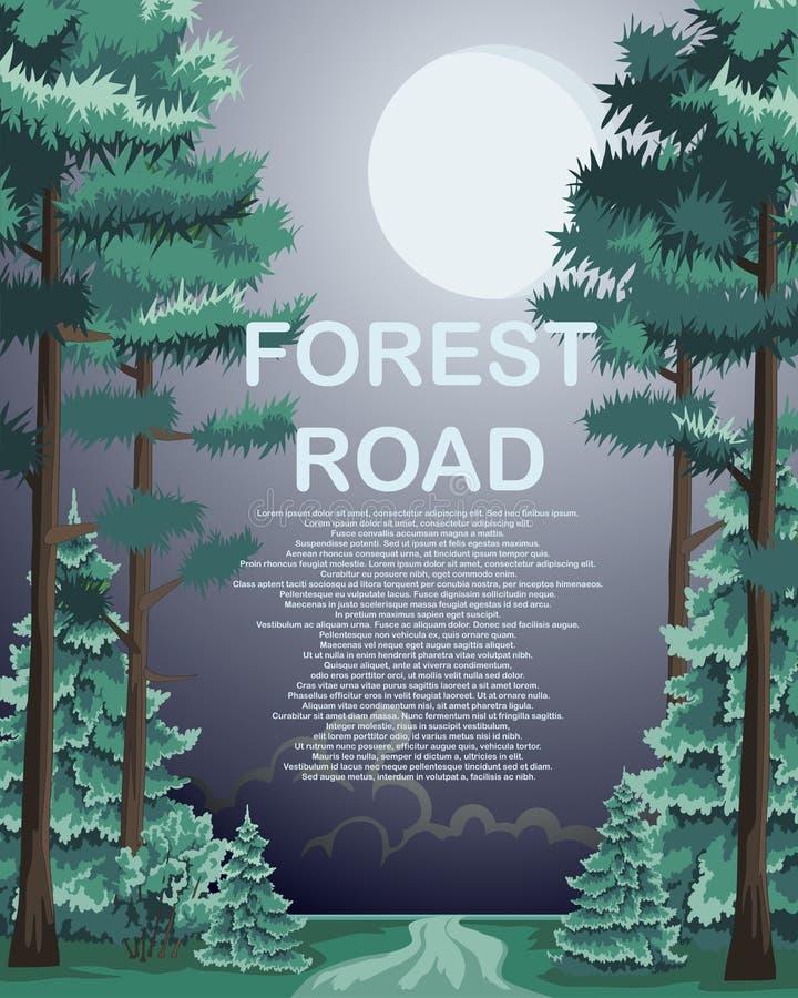 Δρόμος σε ένα δάσος με τα κωνοφόρα δέντρα κατά μήκος των ακρών απεικόνιση αποθεμάτων