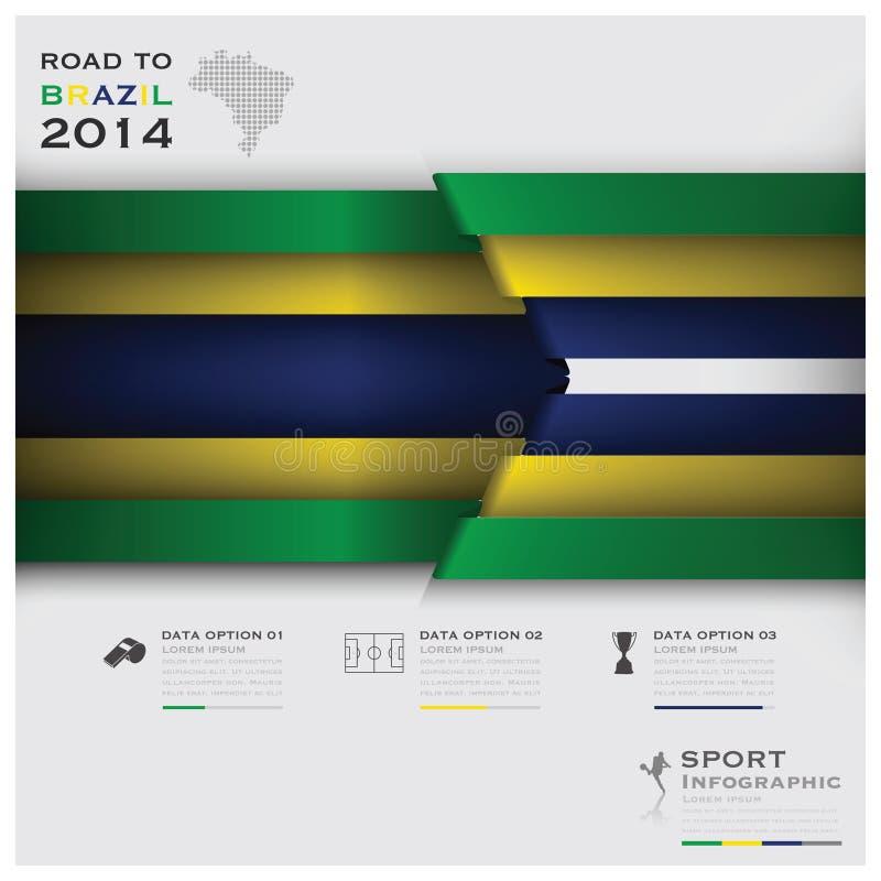 Δρόμος στη Βραζιλία 2014 αθλητισμός Infographic πρωταθλημάτων ποδοσφαίρου απεικόνιση αποθεμάτων