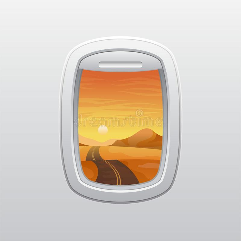 Δρόμος στη μέση της ερήμου Άποψη από το παράθυρο του αεροπλάνου r διανυσματική απεικόνιση