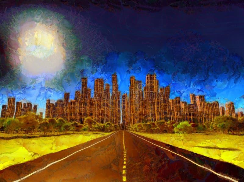 Δρόμος στη μελλοντική πόλη απεικόνιση αποθεμάτων