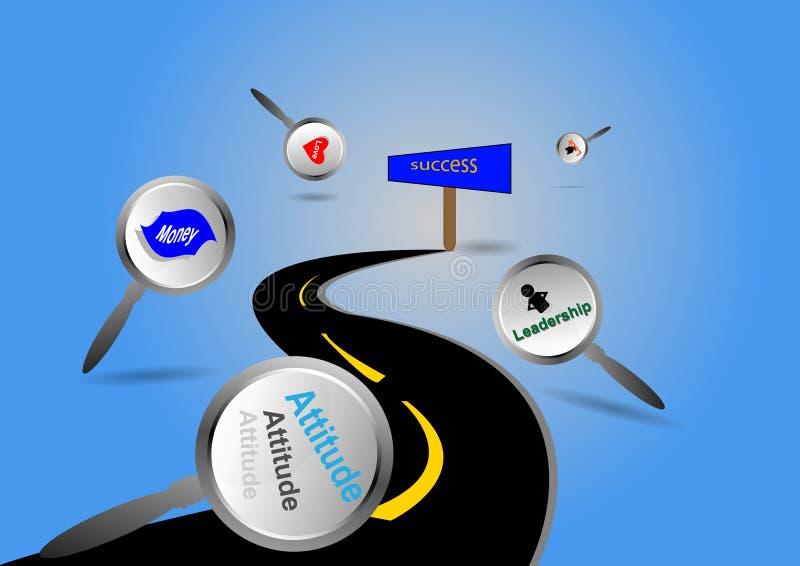 Δρόμος στις λέξεις επιτυχίας σε μια οδό διανυσματική απεικόνιση