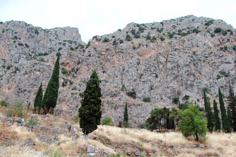 Δρόμος στις καταστροφές της αρχιτεκτονικής αρχαίου Έλληνα κοντά στην πόλη των Δελφών στο νότο της Ελλάδας 06 17 2014 στοκ φωτογραφία με δικαίωμα ελεύθερης χρήσης