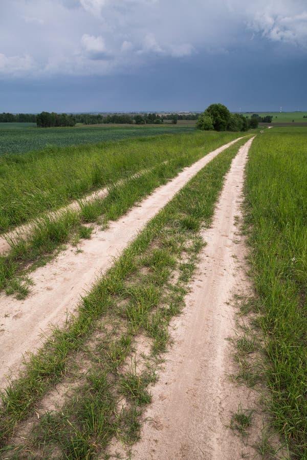 Δρόμος στον τομέα, θυελλώδης ουρανός στοκ φωτογραφίες με δικαίωμα ελεύθερης χρήσης