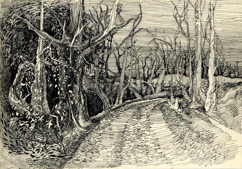 Δρόμος στο δασικό σχέδιο μελανιού φθινοπώρου διανυσματική απεικόνιση