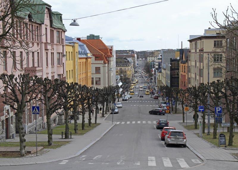 Δρόμος στο κέντρο του Τουρκού, Φινλανδία στοκ φωτογραφίες