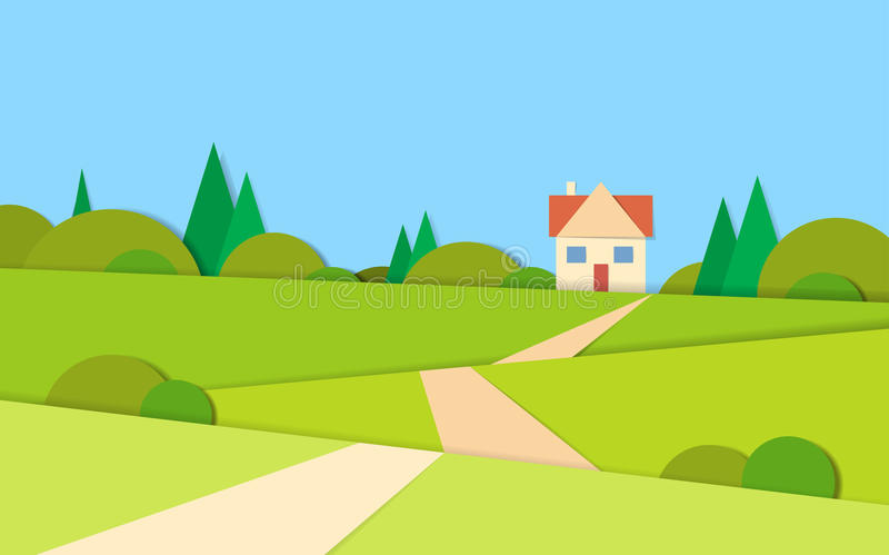 Δρόμος τοπίων θερινής άποψης στο σπίτι απεικόνιση αποθεμάτων