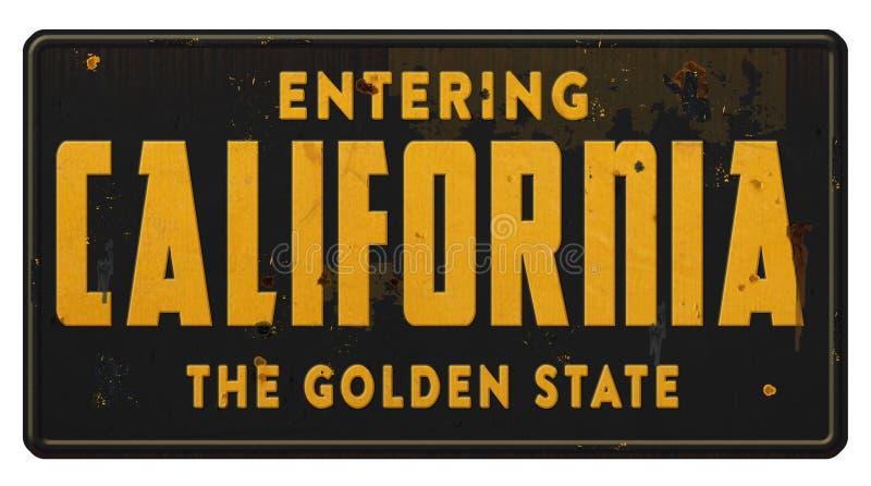 Δρόμος Grunge αυτοκινητόδρομων εθνικών οδών κρατικών σημαδιών Καλιφόρνιας το κράτος ροδάκινων στοκ εικόνες