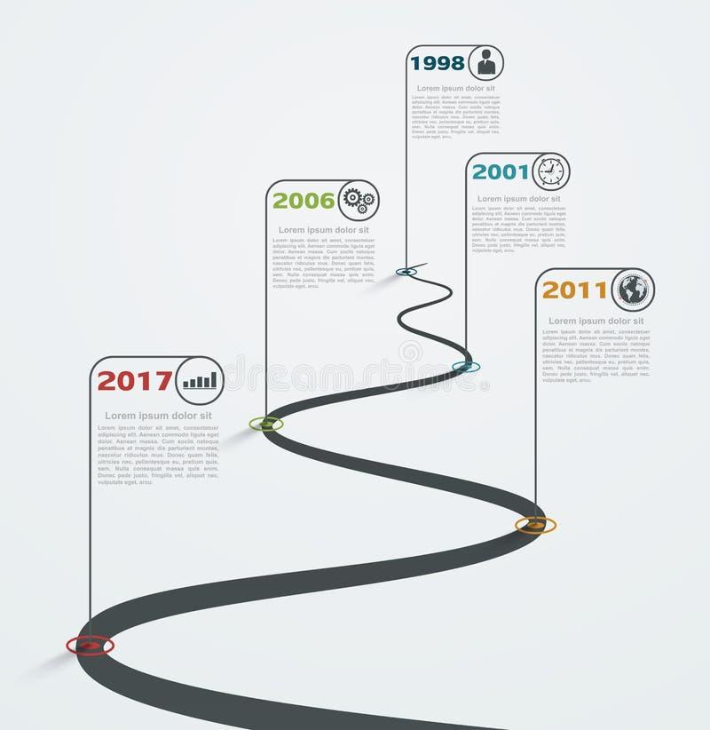 Δρόμος infographic με τους δείκτες, υπόδειξη ως προς το χρόνο με τα επιχειρησιακά εικονίδια διανυσματική απεικόνιση