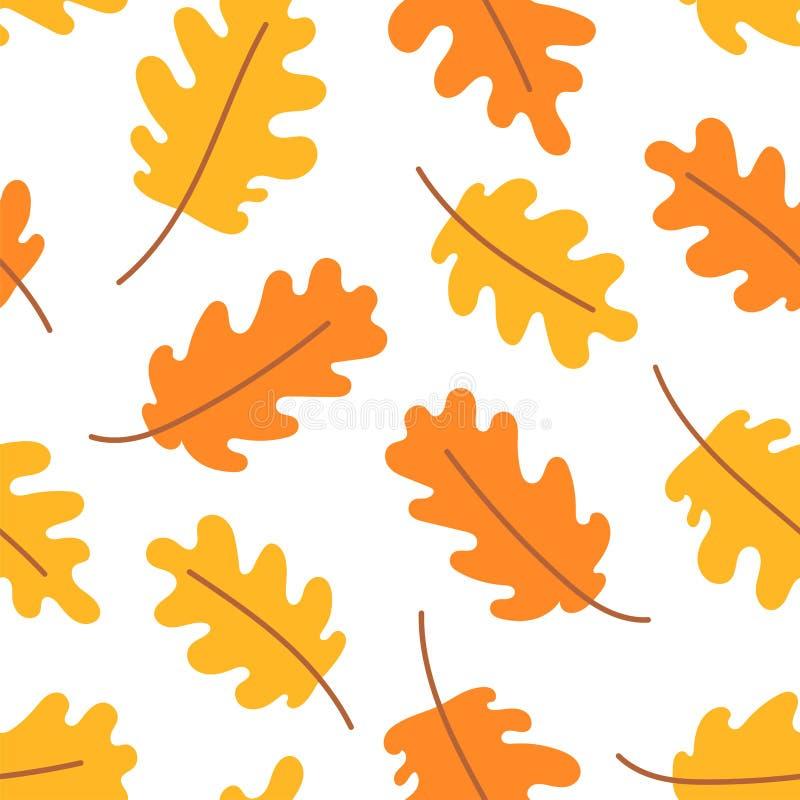 Δρύινα φύλλα φθινοπώρου r Διανυσματικό κίτρινο και πορτοκαλί φύλλο Λεύκωμα αποκομμάτων, τυλίγοντας έγγραφο δώρων και κλωστοϋφαντο διανυσματική απεικόνιση