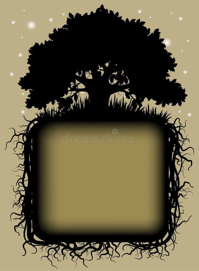 Δρύινη μαύρη σκιαγραφία δέντρων με τις ρίζες και το πλαίσιο διανυσματική απεικόνιση