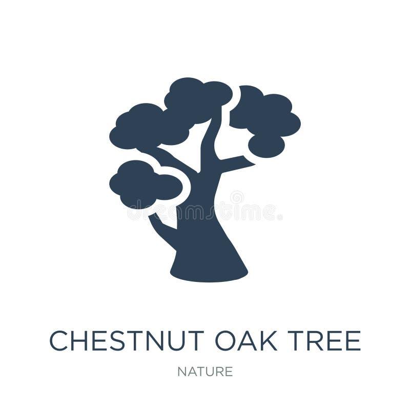 δρύινο εικονίδιο δέντρων κάστανων στο καθιερώνον τη μόδα ύφος σχεδίου δρύινο εικονίδιο δέντρων κάστανων που απομονώνεται στο άσπρ ελεύθερη απεικόνιση δικαιώματος