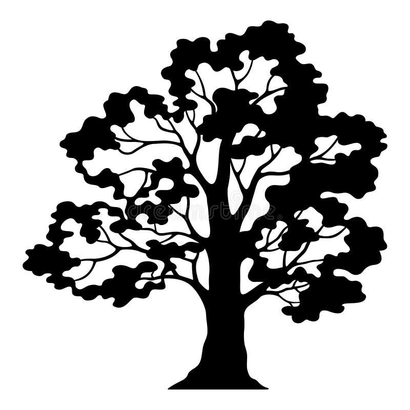 Δρύινο εικονόγραμμα δέντρων, μαύρη σκιαγραφία και περιγράμματα ελεύθερη απεικόνιση δικαιώματος