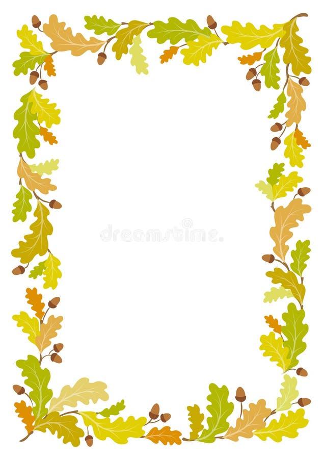 Δρύινο υπόβαθρο πλαισίων φθινοπώρου - διανυσματική απεικόνιση διανυσματική απεικόνιση