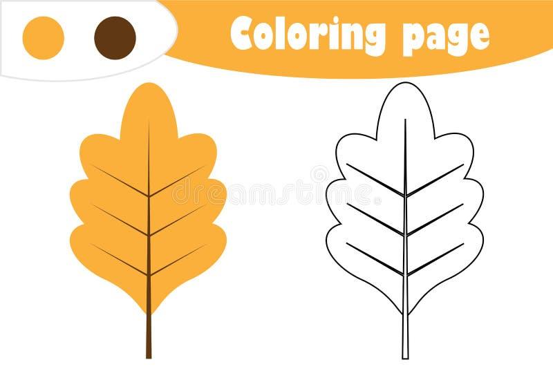 Δρύινο φύλλο στο ύφος κινούμενων σχεδίων, χρωματίζοντας σελίδα φθινοπώρου, παιχνίδι εγγράφου εκπαίδευσης για την ανάπτυξη των παι διανυσματική απεικόνιση