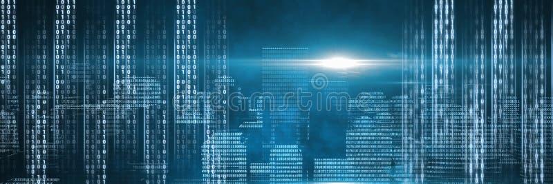 Δυαδική διεπαφή κώδικα και μπλε υπόβαθρο ελεύθερη απεικόνιση δικαιώματος