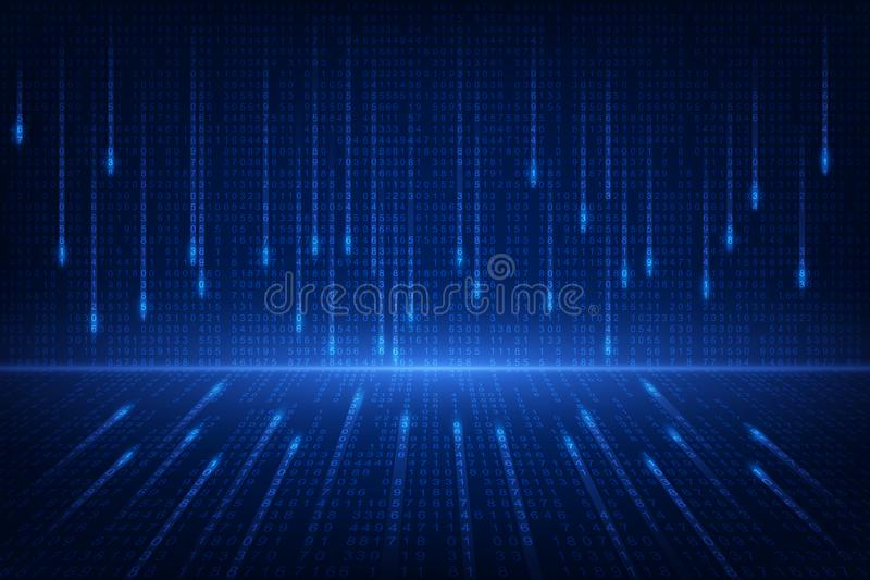 Δυαδική μελλοντική τεχνολογία κυκλωμάτων, μπλε υπόβαθρο έννοιας ασφάλειας cyber, αφηρημένη γεια διανυσματική απεικόνιση Διαδικτύο ελεύθερη απεικόνιση δικαιώματος