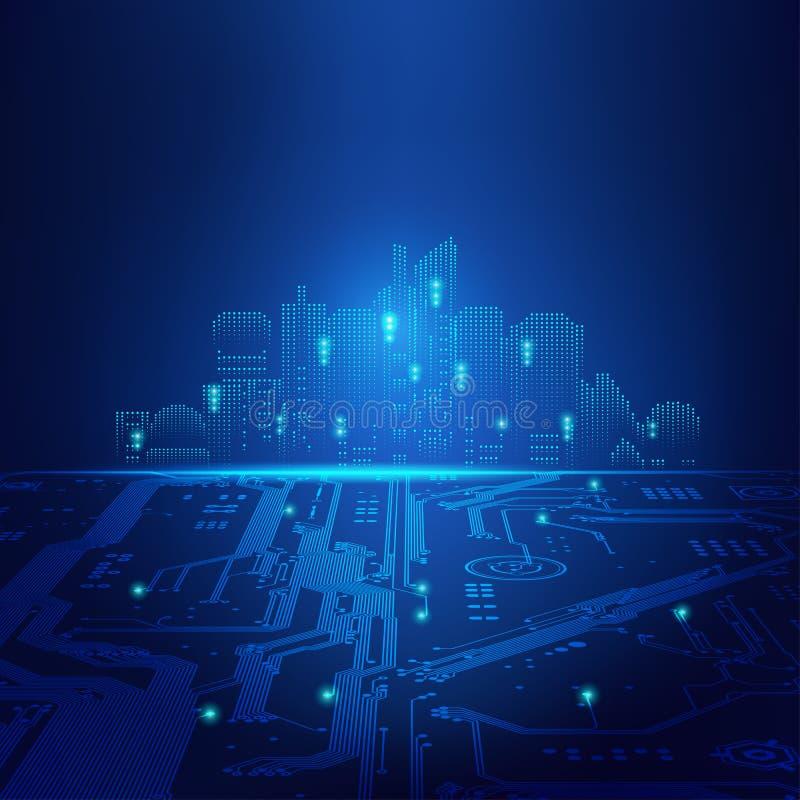 δυαδική σήραγγα νύχτας πόλεων ψηφιακή ελεύθερη απεικόνιση δικαιώματος
