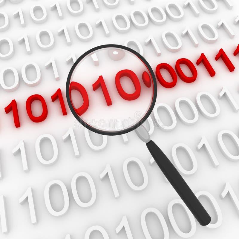 Δυαδικός κώδικας, αναζήτηση του κακόβουλου κώδικα διανυσματική απεικόνιση
