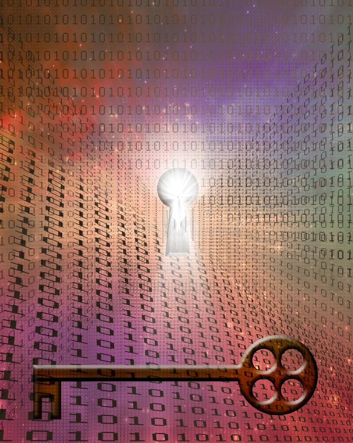Δυαδικός κώδικας και κλειδί ελεύθερη απεικόνιση δικαιώματος