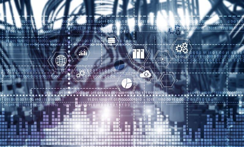 Δυαδικός κώδικας ΤΠΕ - τεχνολογία πληροφοριών και τηλεπικοινωνιών και IOT - Διαδίκτυο εννοιών ελεύθερη απεικόνιση δικαιώματος