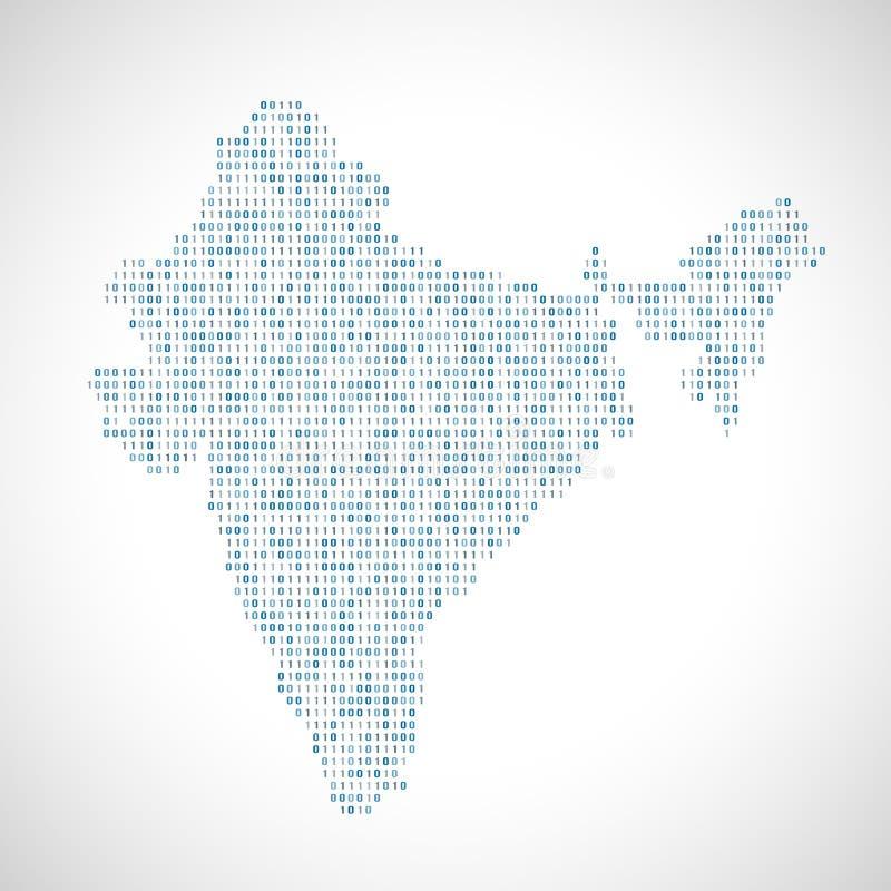 Δυαδικός ψηφιακός χάρτης της Ινδίας διανυσματική απεικόνιση
