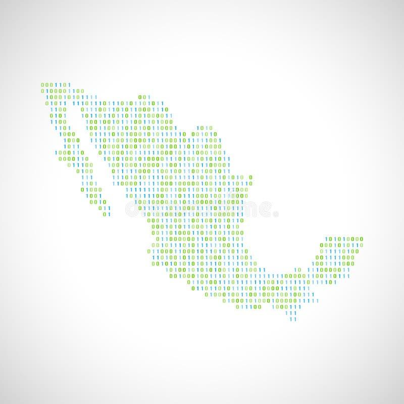 Δυαδικός ψηφιακός χάρτης του Μεξικού διανυσματική απεικόνιση