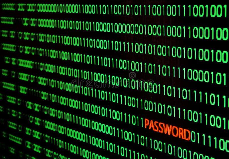 Δυαδικός κώδικας με την κλοπή κωδικού πρόσβασης στοκ εικόνες