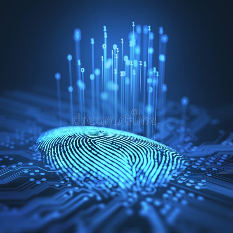 Δυαδικό μικροτσίπ δακτυλικών αποτυπωμάτων απεικόνιση αποθεμάτων