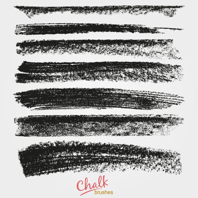 Δυναμικά διανυσματικά κτυπήματα βουρτσών Σύσταση Grunge της κιμωλίας Ευρεία καλλιτεχνική βούρτσα απεικόνιση αποθεμάτων