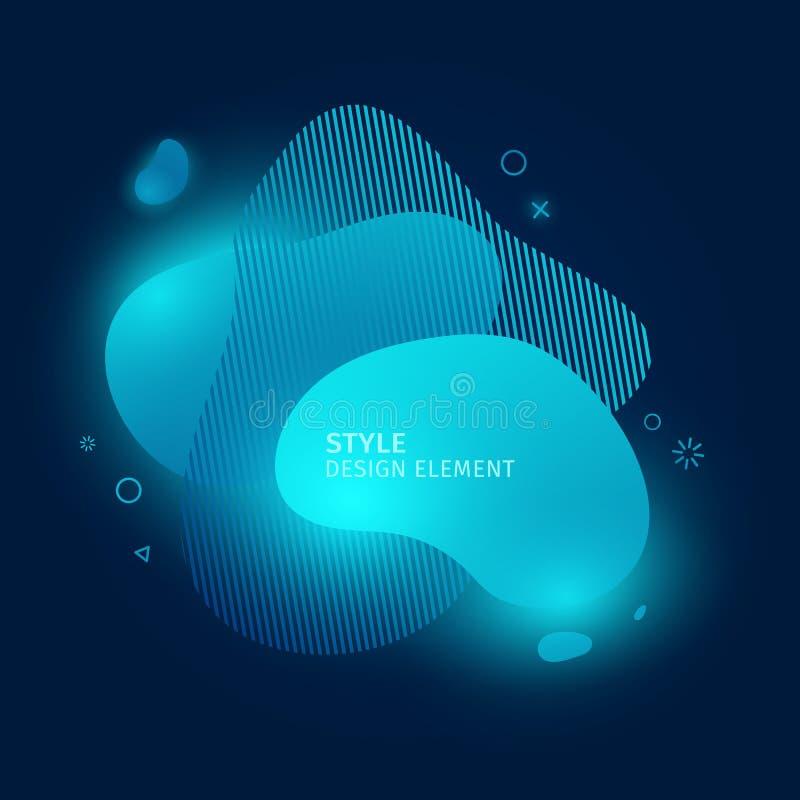 Αφηρημένα σύγχρονα γραφικά στοιχεία Δυναμικές μπλε χρωματισμένες νέο μορφές σύννεφων Τρισδιάστατα αφηρημένα εμβλήματα κλίσης με φ διανυσματική απεικόνιση