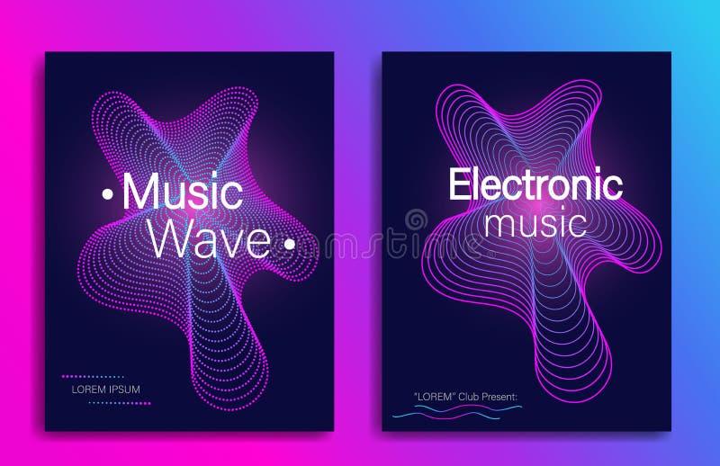 Δυναμική μορφή κλίσης Σχέδιο ιπτάμενων μουσικής με τα αφηρημένα κύματα γραμμών κλίσης Ηλεκτρονικό κόμμα μουσικής Σύγχρονο έμβλημα ελεύθερη απεικόνιση δικαιώματος