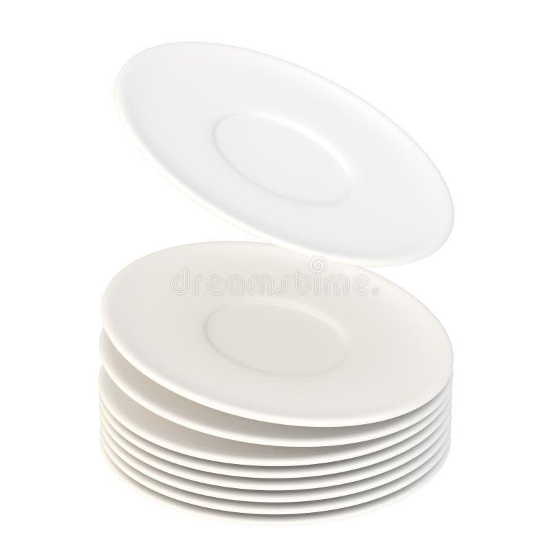 Δυναμικός σωρός των κεραμικών πιάτων που απομονώνονται απεικόνιση αποθεμάτων
