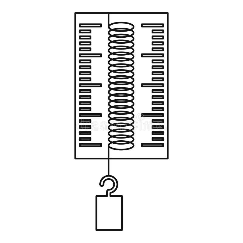 Δυναμόμετρο με ένα εικονίδιο γάντζων, ύφος περιλήψεων διανυσματική απεικόνιση