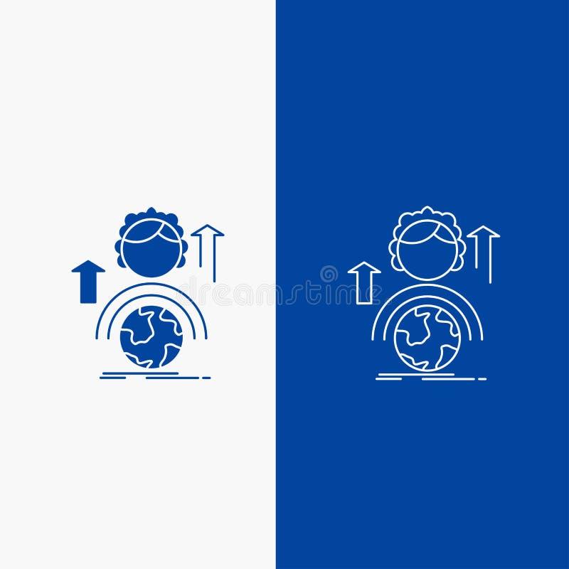 δυνατότητες, ανάπτυξη, θηλυκά, σφαιρικά, σε απευθείας σύνδεση γραμμή και κουμπί Ιστού Glyph στο μπλε κάθετο έμβλημα χρώματος για  απεικόνιση αποθεμάτων