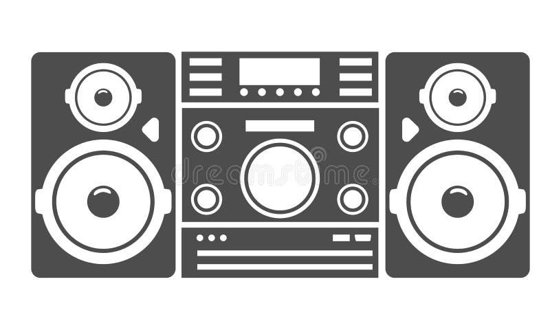 Δυνατό εικονίδιο ή σύμβολο σκιαγραφιών κεντρικών συστημάτων μουσικής ακουστικό επίσης corel σύρετε το διάνυσμα απεικόνισης ελεύθερη απεικόνιση δικαιώματος