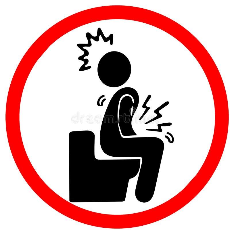 Δυσπεψία αιτίας Μαΐου που προειδοποιεί το κόκκινο οδικό σημάδι κύκλων που απομονώνεται στο λευκό απεικόνιση αποθεμάτων
