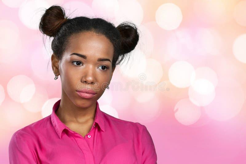 Δυστυχισμένη γυναίκα αφροαμερικάνων στοκ εικόνα
