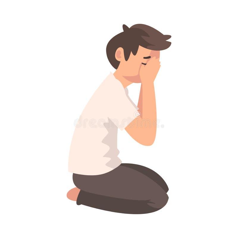 Δυστυχισμένη λυπημένη συνεδρίαση αγοριών στο πάτωμα και το κλειστό πρόσωπο με το χέρι, καταθλιπτικός έφηβος που έχουν τη διανυσμα διανυσματική απεικόνιση