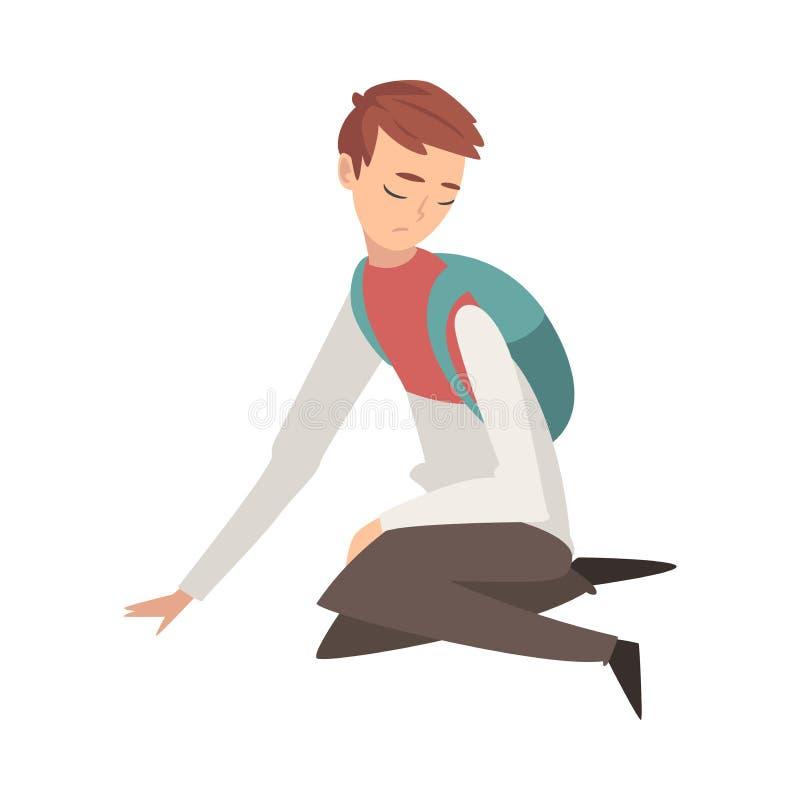 Δυστυχισμένη λυπημένη συνεδρίαση αγοριών στο πάτωμα, πιεσμένος, μόνος, ανήσυχος, κακομεταχειρισμένος έφηβος που έχει τα προβλήματ απεικόνιση αποθεμάτων