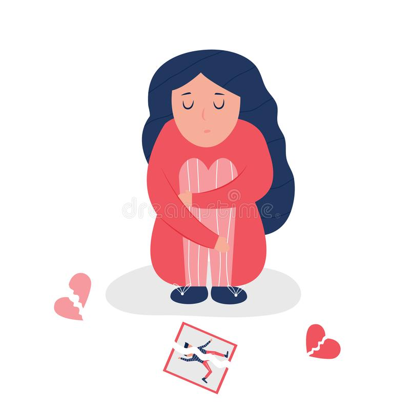 Δυστυχισμένο καταθλιπτικό κορίτσι με τη σπασμένη καρδιά ελεύθερη απεικόνιση δικαιώματος