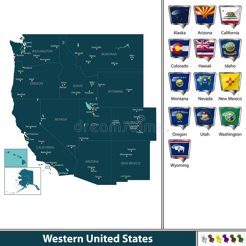 Δυτικές Ηνωμένες Πολιτείες διανυσματική απεικόνιση