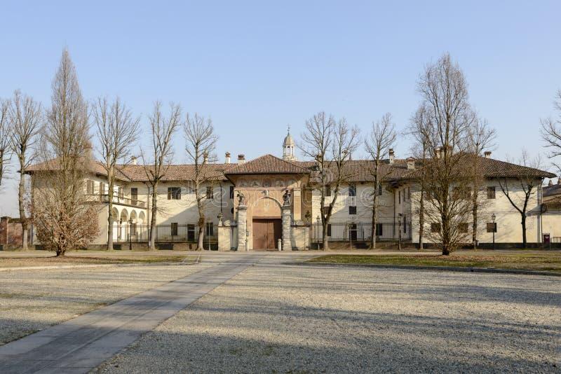 Δυτική πλευρά του αβαείου Certosa, Παβία, Ιταλία στοκ εικόνες
