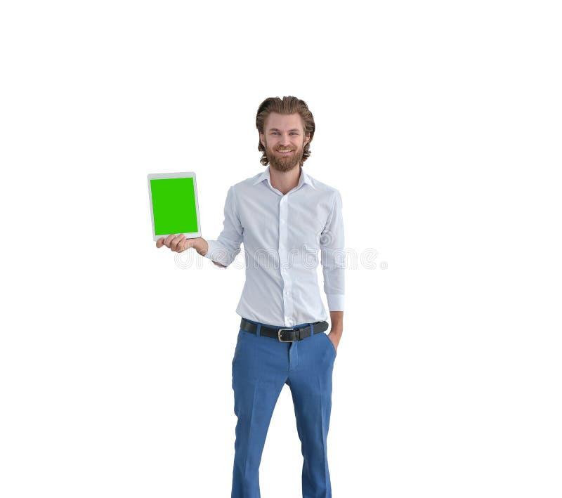 Δυτικός επιχειρηματίας που παρουσιάζει ταμπλέτα του που απομονώνεται στο άσπρο, ελεύθερο s στοκ φωτογραφία με δικαίωμα ελεύθερης χρήσης