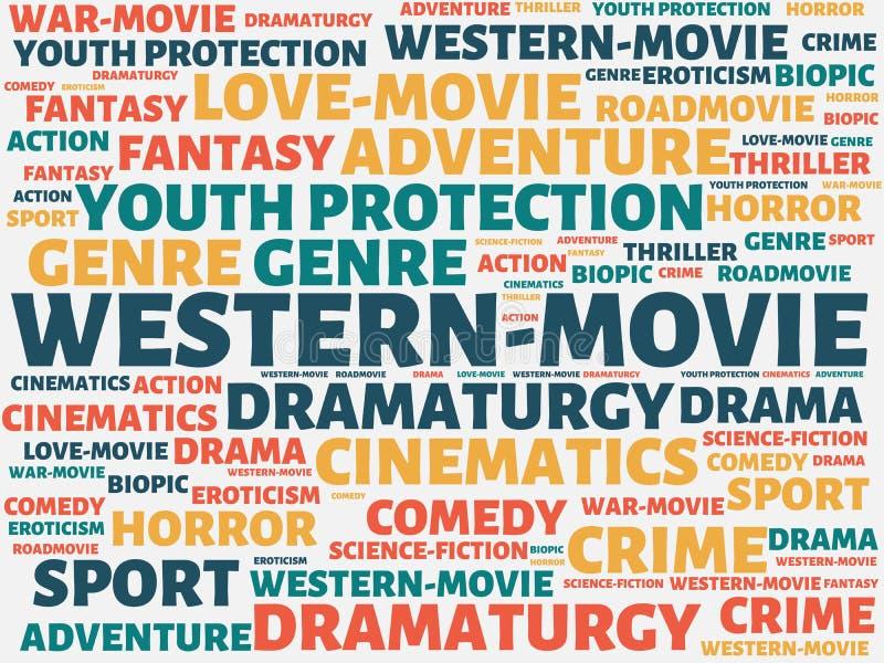 Δυτικός-ΚΙΝΗΜΑΤΟΓΡΑΦΟΣ - εικόνα με τις λέξεις που συνδέονται με τον ΚΙΝΗΜΑΤΟΓΡΑΦΟ θέματος, λέξη, εικόνα, απεικόνιση ελεύθερη απεικόνιση δικαιώματος