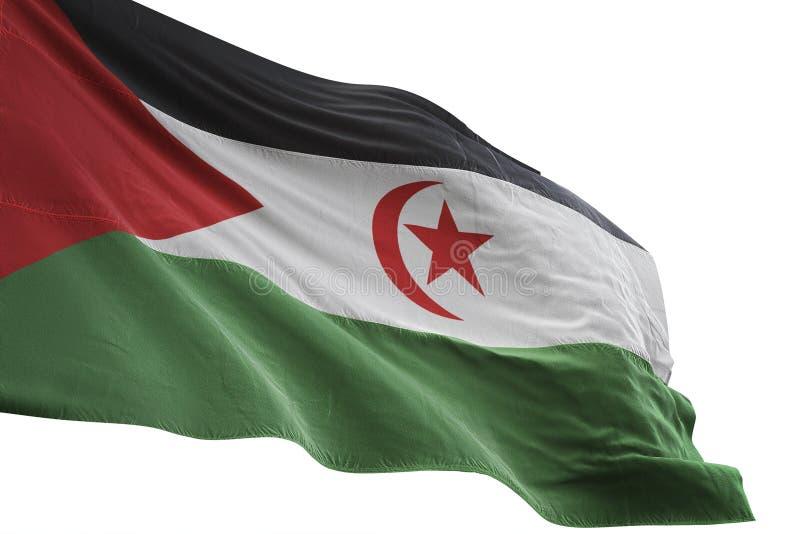 Δυτικός κυματισμός εθνικών σημαιών Σαχάρας - Δημοκρατίας Sahrawi αραβικός δημοκρατικός που απομονώνεται στην άσπρη τρισδιάστατη α διανυσματική απεικόνιση