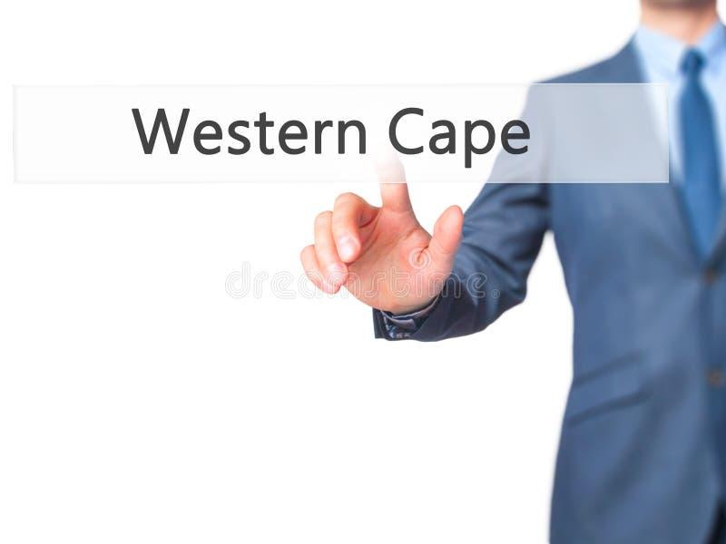 Δυτικό ακρωτήριο - κουμπί συμπίεσης χεριών επιχειρηματιών στην οθόνη αφής στοκ εικόνα